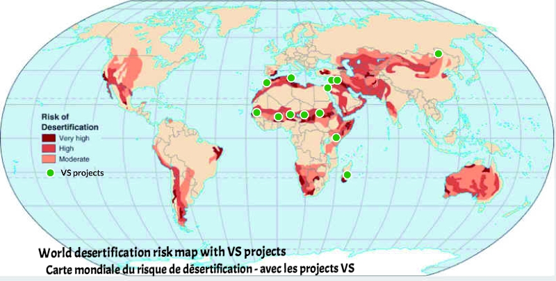 World desertification risk map with VS projects